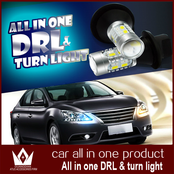 Guang Dian ALL IN ONE DRL Car led light Daytime Running Lights with turning signal light bright FOR Renault Sandero 2011 py21w<br><br>Aliexpress