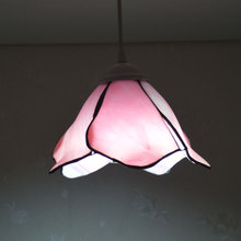 Pink Lotus Flower Tiffany Pendant Light Stained Glass Lampshade Country Style Bedroom Light Fixtures E27 110-240V