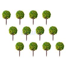 New 50pcs Yellow Flower Model Train HO Trees Ball Shaped Scenery Landscape 1/100 Scale(China)