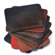 Men's Genuine Leather Credit Card Holder Vintage Business Card Case Men Casual Slim Card Wallet Travel Case Small ID Holders