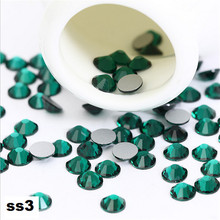 ss3 1440pcs/pack Flat Back Best Crystal Emerald ( 3d Nail Art decorations ) Non Hot Fix Glue on rhinestones for nails diy