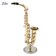 Zebra 1/6 Copper+Metal Golden Portable Alto Saxophone Musical Instrument Electrophoresis With Box(Gift leather box packaging)