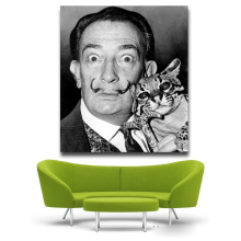 Salvador Dali protrait and Cat Pop Art Oil Painting Face Portrait Print Wall Painting For Living room No Frame