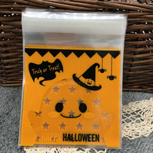 100 Pcs Halloween Yellow pumpkin Gifts Bags Plastic Clear DIY Candy Cookies Birthday Party Craft Bags Packaging Bags(China)