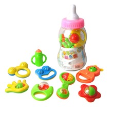 8Pcs/ Set Kids toys Baby Hand Shake Bell Ring Rattles Toy Gift Set with Giant Baby Bottle ( shape and color send by random )