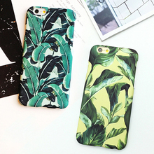 LACK Ultra Thin Banana Leaf Case For iphone 6 Case For iphone 6S 6 Plus Summer Cool Plants Leaves Hard Frosted Phone Cases Cover(China)
