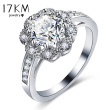 17KM Wedding Rings for women Gold Color Flower Jewelry Vintage Cubic Zircon Silver Color Engagement bague bijoux Accessory