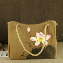 Chinese Painting Series Women Linen Canvas Tote Bag Flower Hand Painted Rope Top-handle Ladies Shoppers Shopping Handbag Khaki(China)
