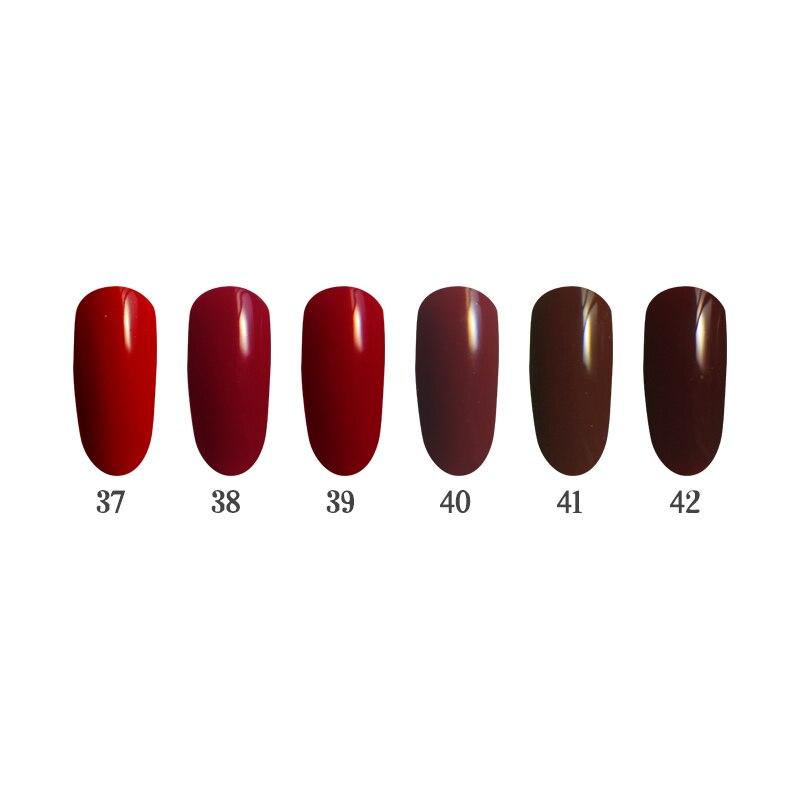 6PCS 12ml UV/LED Nail Gel Kit Leveling well Lasting Professional Art Manicure QBEKA 37~42 Mahogany<br>
