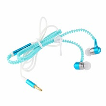 Glow In The Dark Metal Earphones Earbuds With Mic Glowing Zipper Green Blue Color Headset Luminous Lighting Stereo Handsfree(China)