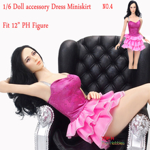 "Sexy Pink Cheerleaders Dress Miniskirt NO.4 For 1/6 Scale Female 12"" Action Figure 1:6 Phicen"