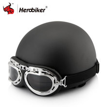 2017 Black Frosted Motor Scooter Helmets Open Face Half Motor Scooter Helmets & Visor & Goggles men and women Motorcycle Helmet(China)