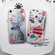 Cute Deer Bus Travel London soft silicone case For iphone 5s/SE 6 6s Plus 7 7 Plus TPU cover For iphone 5 6s 7 cases funda coque