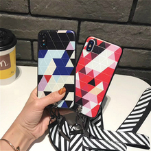 Buy Fashion Colorful Geometry Triangle Pattern Stripe Lanyard Back Cover Apple IPhone 8 plus X Phone Cases Slim Capa Coque for $2.84 in AliExpress store