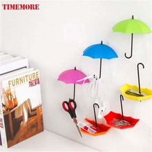 Hot Sale 3Pcs Colorful Umbrella Wall Hook Key Hair Pin Holder Organizer Decorative Kitchen Accessories