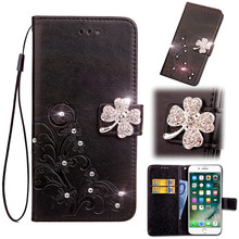 Case For BlackBerry KEYone Black Berry Mercury Back Cover Jewelled Bling Leather Filp Lucky Leaf Card Holder Stand Celulars