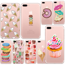Lovely Donut Candy Ice Cream Dessert Food Transparent TPU Case Cover For Iphone 6 6s 5 5s SE 7 7Plus Fashion Cell Phone Cases(China)