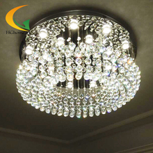 Modern minimalist living crystal chandelier crystal lamp light round hall bedroom ceiling lamp crystal ball Restaurant