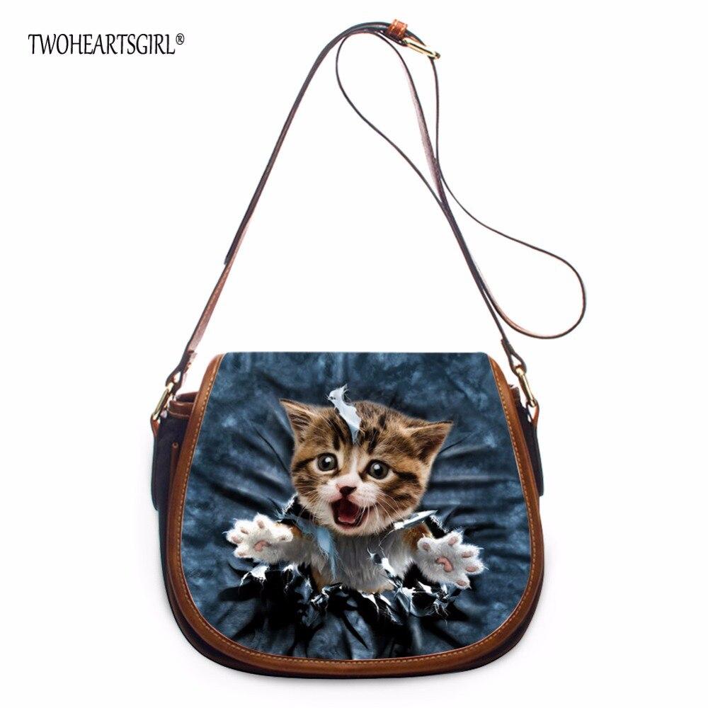 TWOHEARTSGIRL Women Shoulder Bags Denim Cat Dog Pattern Ladies Single Strap PU Leather Flap Bags Female Durable Crossbody Bags<br>