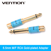 Vention Mono Plug 6.5mm Male To RCA Female Audio Jack Stereo Connector Adapter Gold-plated Headphone(China)