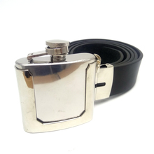 Black Pu Leather Belts for men with 2 ounces Stainless Steel Flask Cowboys Belt Buckles Mens clothing accessories Cintos Fivelas