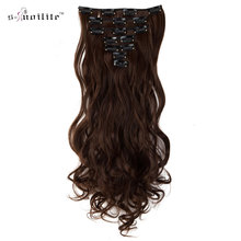 SNOILITE Curly 7pcs 20 inch Women 16 Clip In Hair Extension Real Natural Synthetic Heat resistant Hairpiece Blonde Black