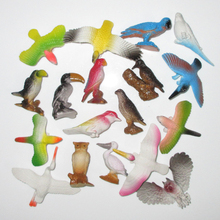 (18 pcs/lot) Plastic Birds Figurine Set Woodpecker Hawk Aigrette Owl Ramphastos Toco Toucan Mini Bird Animal Figure Child Gifts