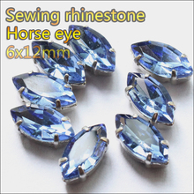 Strass rhinestones 30pcs 6x12mm Lt sapphire sewing rhinestone flatback sew on cup base rhinestones for bag clothing DsjkMyLt sa