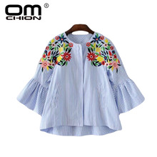 OMCHIONBlusas Mujer De Moda 2017 O Neck Floral Embroidery Blouse Long Sleeve Blue Striped Women Shirt Casual Summer Tops TS149(China)