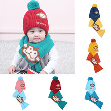 2Pcs Autumn Winter Baby Boys Girls Kids Cartoon Monkey Hat+Scarf set Child Knitting Cotton Warm Hats Cap for 1-4 Years Old Kids(China)