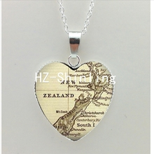 New Vintage Map Heart Necklace New Zealand Map Heart Pendant Ireland Map Jewelry Silver Heart Necklace