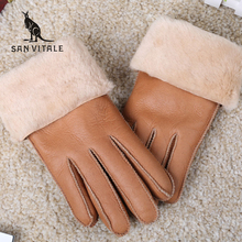 Fashion Genuine Fur Gloves Women Sheepskin Mittens Real Fur Sheep Leather Winter Warm Thickening Windproof Gloves For Women(China)