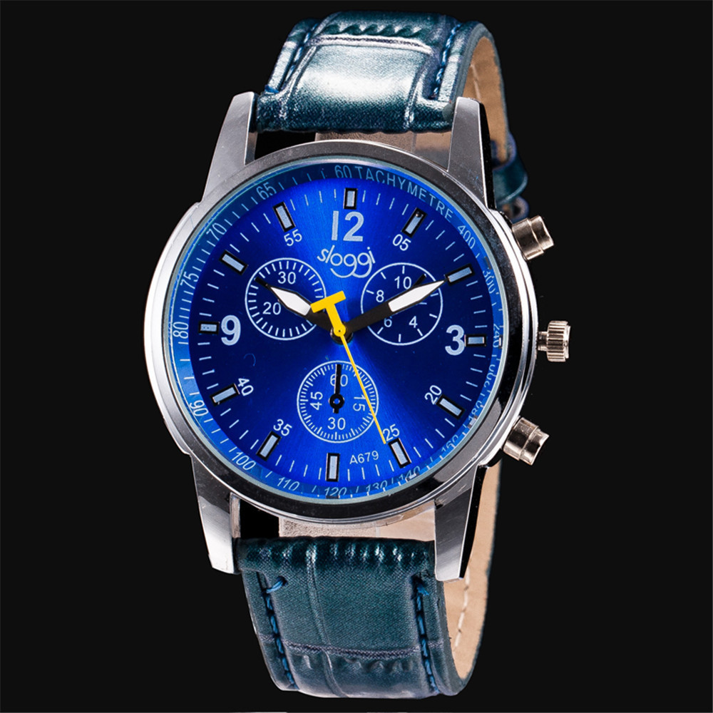 2016 Hot Blue Dial Relogio Masculino Watches Women Luxury Brand Famous With TOP Leather Strap Quartz Analog Mens Military Watch<br><br>Aliexpress
