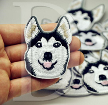 1 PCS Husky Dogs parches Embroidered Iron on Patches for Clothing DIY Stripes Clothes Stickers Custom Badges 5.8*4.5 CM @JJ1