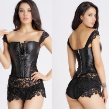 S-6XL Plus Size Sexy Lingerie Women Black Faux Leather and Lace Burlesque Steampunk Corset Dress Gothic Bustier Corset(China)