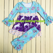 Boutique Girls Christmas Ruffles Set Childrens Fashion Clothing Wholesale Kids Fall Winter Wear Boutique Outfits