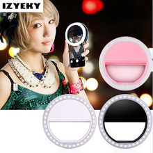 IZYEKY USB rechargeable LED Selfie Phone Ring Flash Light Luminous For iPhone 8 Plus 7 6S 5s X Samsung S8 For Xiaomi Huawei(China)