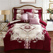 Papa&Mima Western style Pattern print red Bedding Set queen king Size Sanding Cotton Bedlinens purple Duvet Cover Set