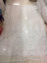New Design Sequins Lace Fabric CiCi-52306 White Nice looking African french net Lace Fabric for party dress
