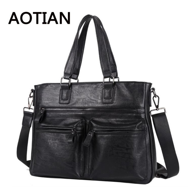 2017 New Style MenS Handbags PU Leather Black Totes Bag Laptop Business Male Crossbody Bags Travel Shoulder Bag<br>