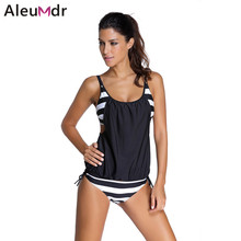 Aleumdr 2017 Women Stripes Swimwear Push-up Tankini Top Bathing Suit Swimsuit Plus Size Shorts Bikinis LC41990 Maillot De Bain(China)