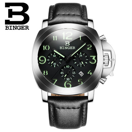 Hot sale brand Binger male leather steel watch stainless casual Quartz wristwatches display relojes hombre montre homme Watches<br>