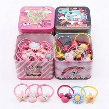 40 Pcs/set Iron box Elastic Rubber hair bands Girls Kitty floral ponytail holders Cartoon Dog box mixing elastic hair rings Q18(China)