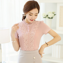 Buy 2017 Summer lace blouse New Women Clothing lace embroidery Chiffon shirt Short sleeve Female Women Tops 3XL for $6.76 in AliExpress store