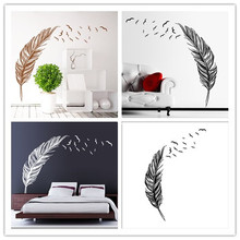 *8408  4styles of  feathers and  fly birds wall sticker home decor living room bedroom  DIY 3d waterproof  stickers