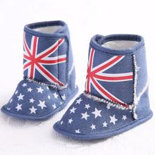 British Flag Union Jack Soft Sole Boots Skid resistance baby first walker shoes Unisex Casual Toddler scarpe neonata Krystal