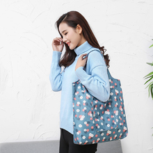 1PC Fashion Portable Folding Shopping Bag Women's Handbags Waterproof Printing Foldable Reusable Household Tote Bags supplies(China)
