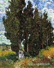 Best Art Reproduction Cypresses With Two Female Figures Vincent Van Gogh Painting for sale hand painted High quality