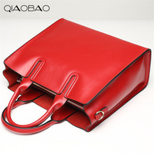 QIAOBAO High quality genuine leather bags ladies cowhide totes female designer fashion big women brown bags crossbody 6color sac