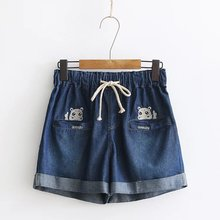 Women Summer Small Fresh River Horse Embroidery Cotton Denim Shorts 2017 Curling Casual Female Waist Jeans Shorts(China)